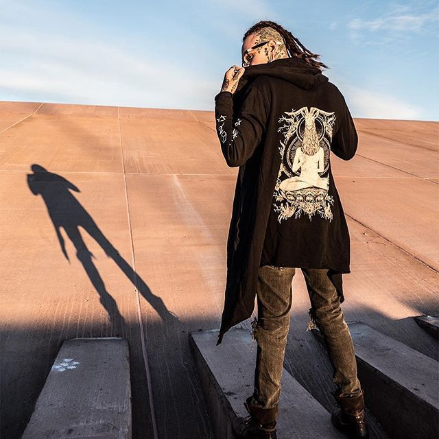 "CRMC X Vivid Black Artistry X View From The Coffin ""TEM.ple O.mnium H.ominum P.ads AB.ba"" Robe Available at www.crmcclothing.co | WE SHIP WORLDWIDE Models - Ryan Wreckless Photography - Archival Grams #darkwear #hood #blackwear #hoodie #freemasonry #altfashion #alternative #fashion #fashionstatement #fashionblog #fashionista #fashionblogger #raglan #menwithtattoos #winter #winterfashion #styles #style #alternativeguy #alternativeboy #alternativegirl #ryanwreckless #tattooedmen"