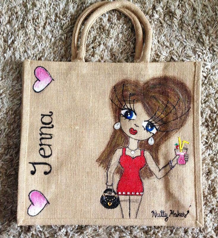 Jenna! Large #handmade jute tote bag, one off design. Great for #christmas or #birthday #gifts! Check out more #customised #tote bags at https://www.etsy.com/shop/NuttyMakes or send an email to hazel.okeeffe@mycit.ie