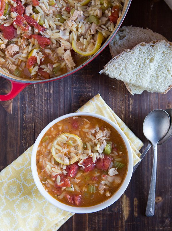 This one-pot chicken orzo soup looks so delicious!