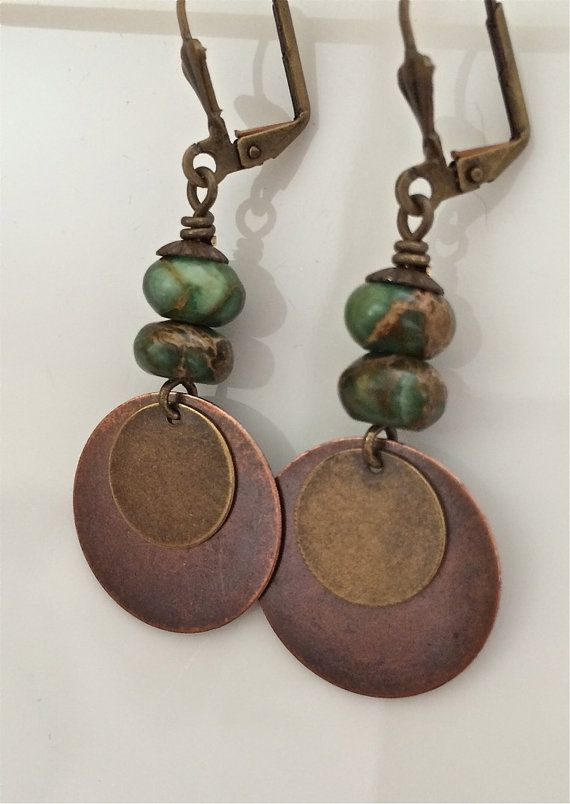 Bohemian Earrings Green Stone Earrings Mixed Metals Boho