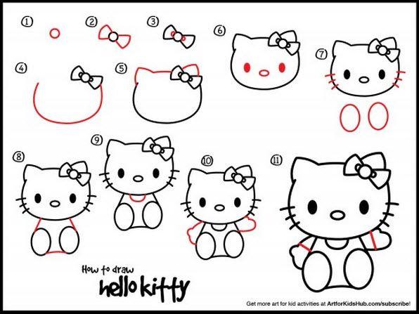 Les 25 meilleures id es de la cat gorie dessin hello kitty - Comment dessiner hello kitty ...