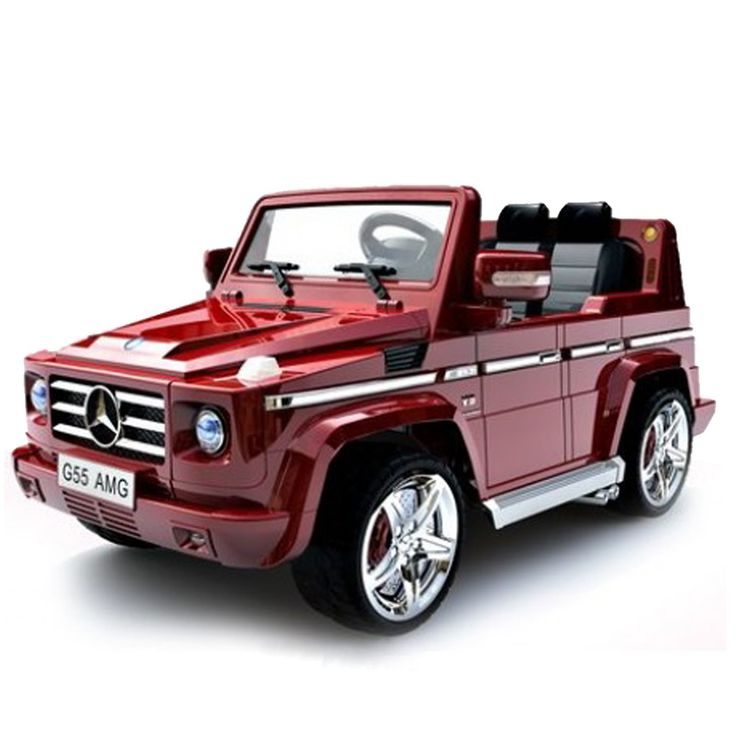 This cool little kid's car is a Two-seater 12V Mercedes Benz G55 AMG Ride-on. Operates on a 12-volt battery that propels two passengers at a cruising speed of up to 5 mph. Simply releasing the gas pedal brings the car to a smooth stop