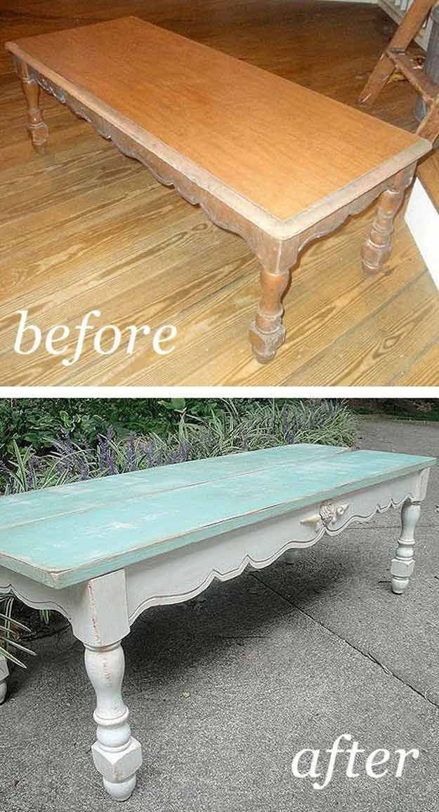 DIY Shabby Chic Living Room Furniture Ideas   Beachy Coffee Table by DIY Ready at http://diyready.com/12-diy-shabby-chic-furniture-ideas/