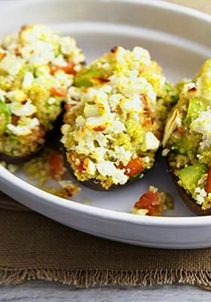 Baked Stuffed Avocados with quinoa, tomatoes & feta.