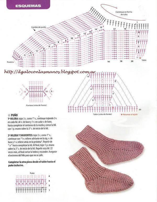 Crochet Socks - Chart ❥ 4U hilariafina  http://www.pinterest.com/hilariafina/