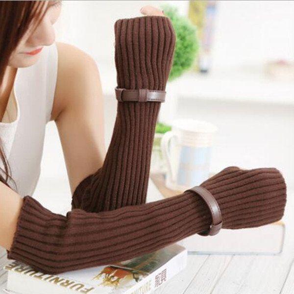 Women Winter Thicken Warm Knitted Fingerless Long Gloves Fake Sleeve With Belt