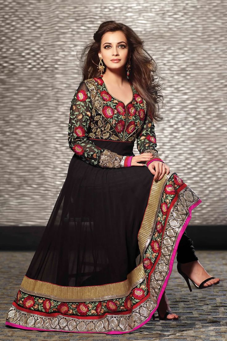 Bollywood Diya Mirza Long Anarkali Stylish Salwar Kameez