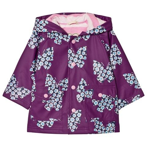 This cheerful purple butterfly print raincoat for girls is waterproof and PVC-free.  It is fully lined with teddy fleece and includes snap button closures down the front.
