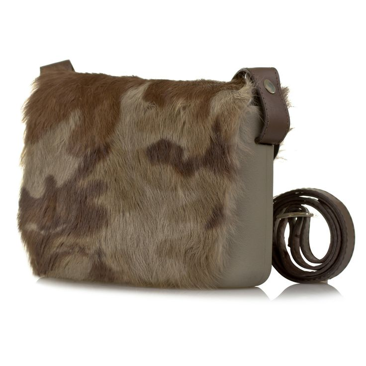 O Pocket shoulder bag by Fullspot - in Rock (beige) with camouflage rabbit fur flap, and brown leather strap. #Womens #fashion