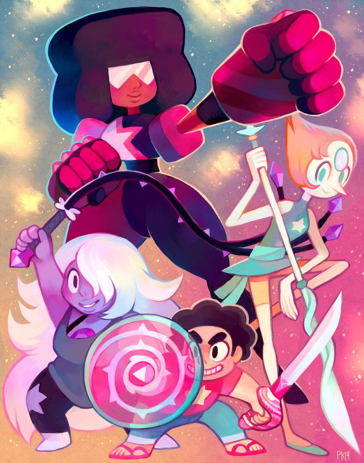 Wahoo I finished it in time for Anime Expo! I'll be at table E18 Papaya Arts! Anyway, I've been wanting to do a big print of the four of them for months now, but only just now scrounged up the time so I could bring it to AX. Please look out for it there! And definitely come talk to me about Steven Universe. This show is seriously my favorite cartoon. So good. Pearl is the best.