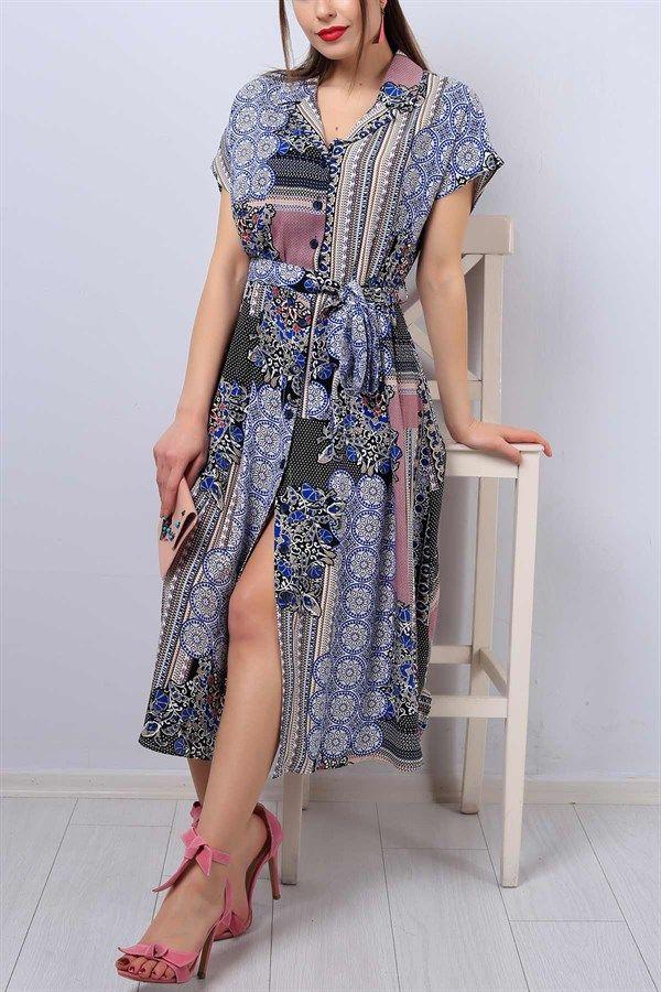 47 95 Tl Desenli V Yaka Bayan Gomlek Elbise 12955b Modamizbir Gomlek Elbise Elbise V Yaka