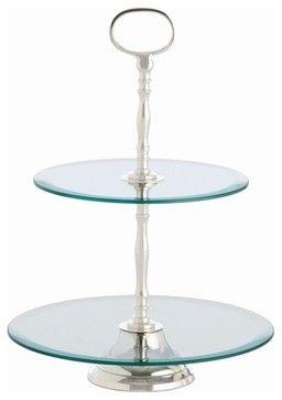 Arteriors Sabrina 2 Tier Glass/Polished Nickel Dessert Stand contemporary serving utensils