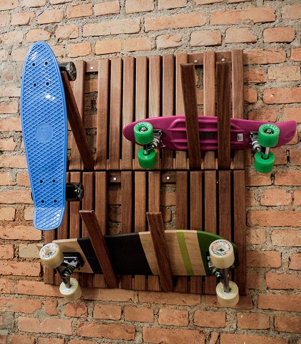 Skateboards in the decoration.