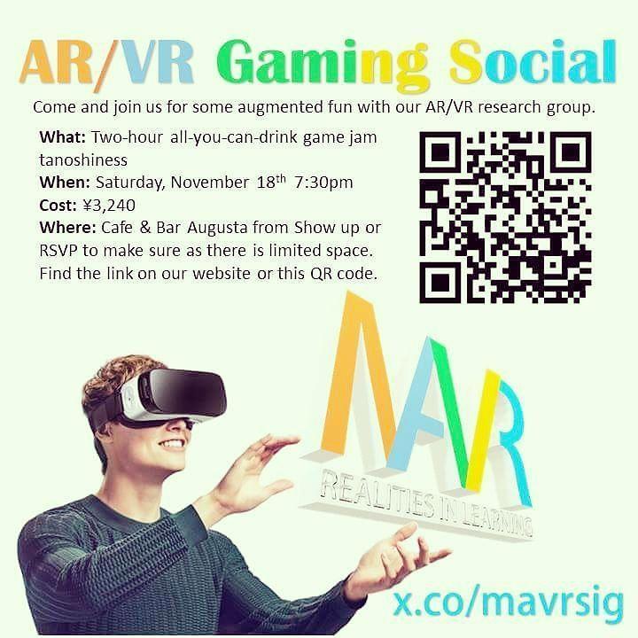 AR/VR Gaming Social at JALT 2017 RSVP Here: http://ift.tt/2iX1w5x  #JALT2017 #JALTMAVR #MAVR #AR #VR #ARientation #linkedin @cengagehighered @veativelabs @jalt2017 #augmentedlearning