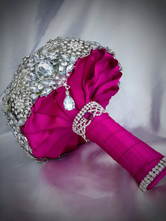 Hot Pink Silver wedding Brooch Bouquet. Deposit by NatalieKlestov