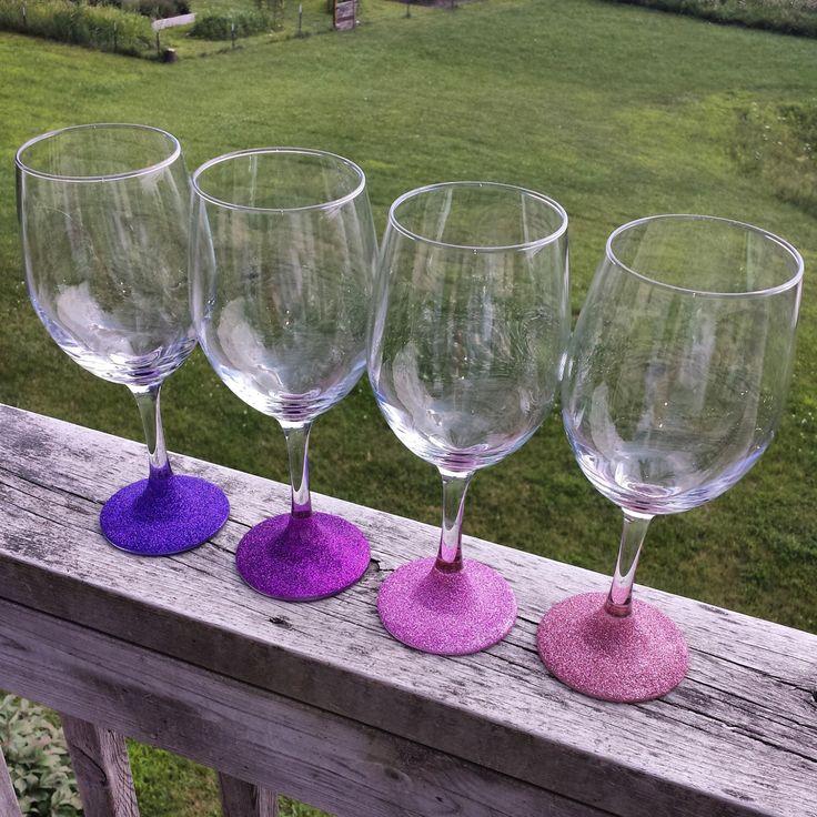 Glitter Wine Glasses, Purple Wine Glasses, Ombre Purple Wine Glasses, Purple Glitter Wine Glasses, Wine Glasses, Blue Wine Glass, Gold Glass by ThisIsElevenEleven on Etsy https://www.etsy.com/listing/192302950/glitter-wine-glasses-purple-wine-glasses