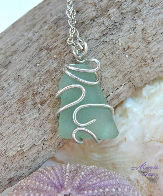 Sea Glass Necklace, Hawaiian jewelry - wire wrapped aqua blue seaglass by Mermaid Tears Hawaii