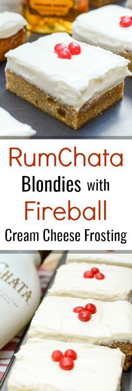 RumChata Blondies with Fireball Cream Cheese Frosting are the perfect summer party dessert. I've made them five times in five weeks and my friends keep asking for more!