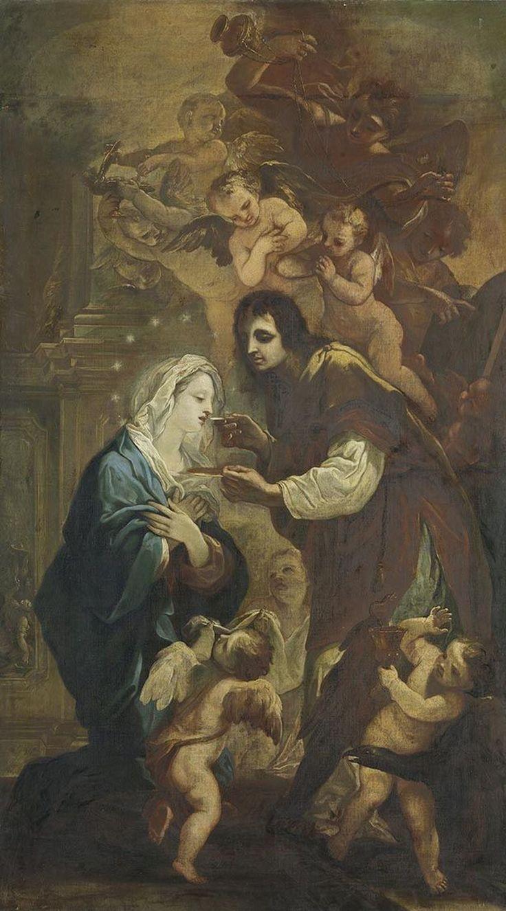 The Blessed Virgin Receiving Holy Communion from Saint John / La Virgen María recibiendo la Santa Comunión de manos de San Juan // ca. 1716 // (Circle of) Johann Andreas Wolff // Alte Pinakothek