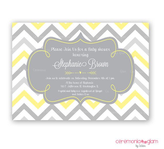 Baby Shower Yellow And Grey Chevron Arrow By Ceremoniaglam On Etsy Invitations
