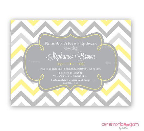 yellow and gray chevron baby shower invites baby shower yellow and