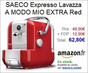 Machine à café Lavazza A Modo Mio Extra rouge pour moins de 63 euros frais de port inclus ainsi qu'un pack avec d'autres coloris et 24 capsules de café à moins de 86 euros.