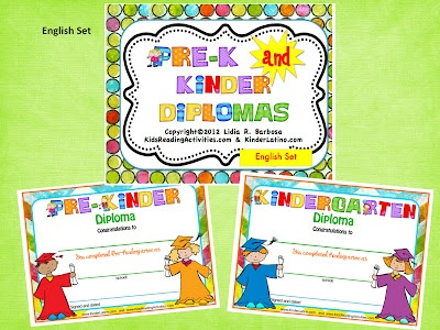 free kindergarten and prek graduation certificates from lidia on