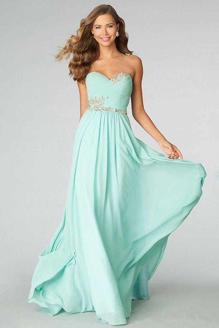Light Sky Blue Floor-Length Sweetheart Chiffon A-line Prom Dress