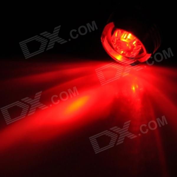 LED 2.6lm 3-Mode Red Bike Tail Safety Light - Black + Red (2 x CR2032)