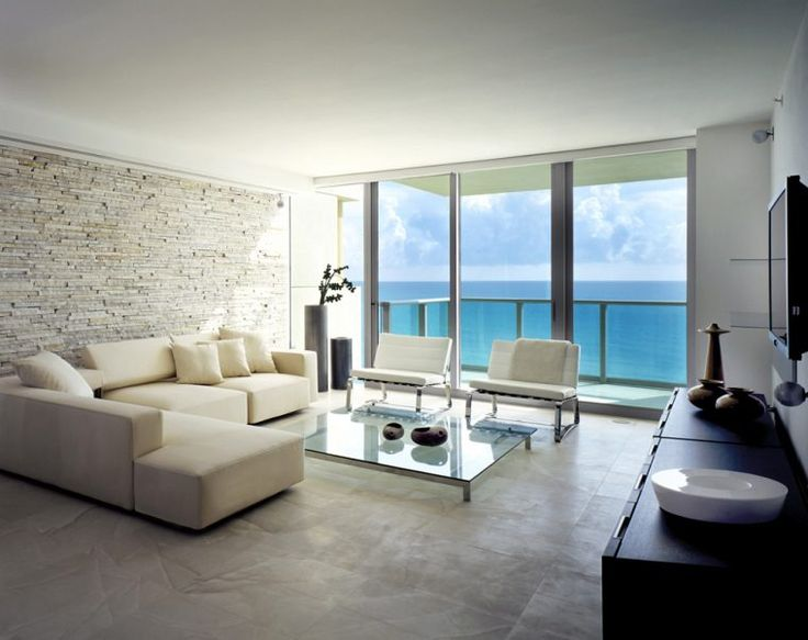 Minimalist Brown Stoned Miami Apartment With Glass Windows And Table Plus Black White Interior Set