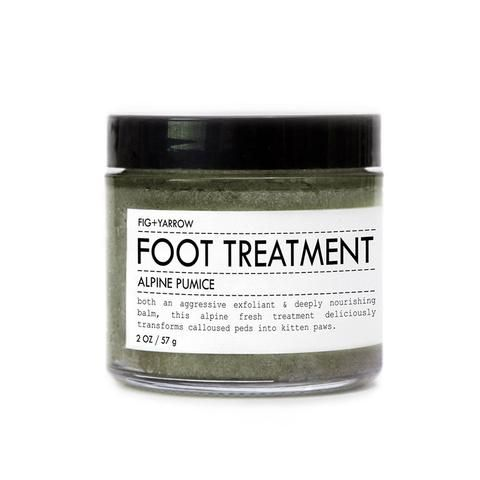 ALPINE PUMICE FOOT TREATMENT is both an aggressive exfoliant and deeply nourishing balm. this alpine-fresh treatment deliciously transforms your calloused peds