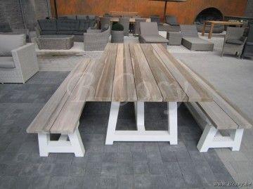 Gescova Azur Cassano Rechthoekige Tafel Aluminium Wit Blad In Recycled Teak  Grey Wash 220 Casso Table