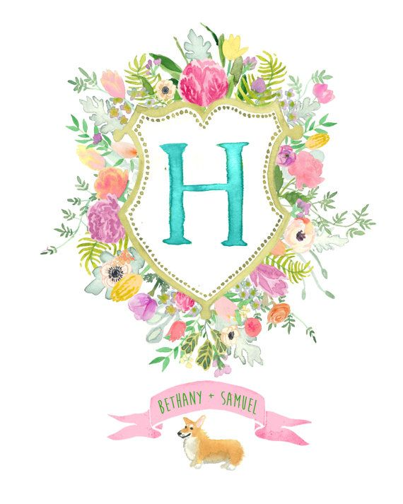Hand Drawn Custom Floral Crest - Monogram, flowers, ferns, peony, willow, dusty miller, anemone, pine, woodland, tropical, watercolor