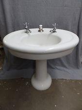 Antique Cast Iron White Porcelain Oval Pedestal Barber Shop Sink  Vtg  5132-15