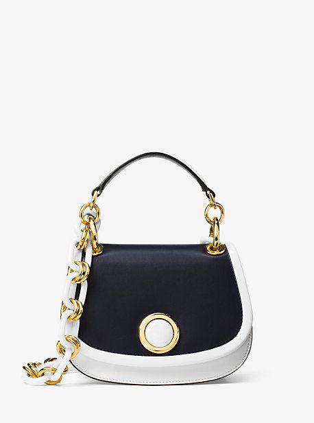 Michael Kors Goldie Small French Calf Leather Shoulder Bag