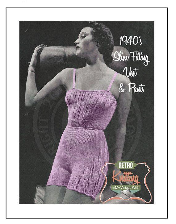 1940's Slim Fitting Vest and Panties Vintage by MyVintageWish