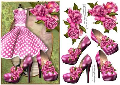 Pink Polka Dot Dress Shoes on Craftsuprint designed by Anne Lever - This lovely feminine topper features a fabulous pink polka dot dress and matching shoes. It is embellished with gorgeous glory roses. It has decoupage.  - Now available for download!