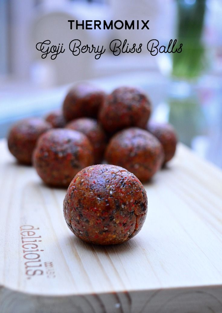 These Goji Berry Bliss Balls are made quickly and easily in the Thermomix.  They're perfect for keeping in the fridge for a healthy snack or popped into a lunch box.