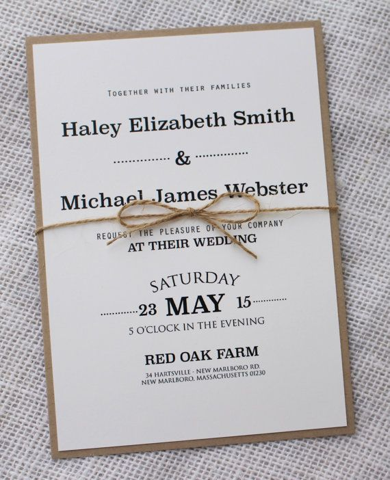 Modern Wedding Invitation Rustic Chic Handmade Simple Iinvitation Set In 2018