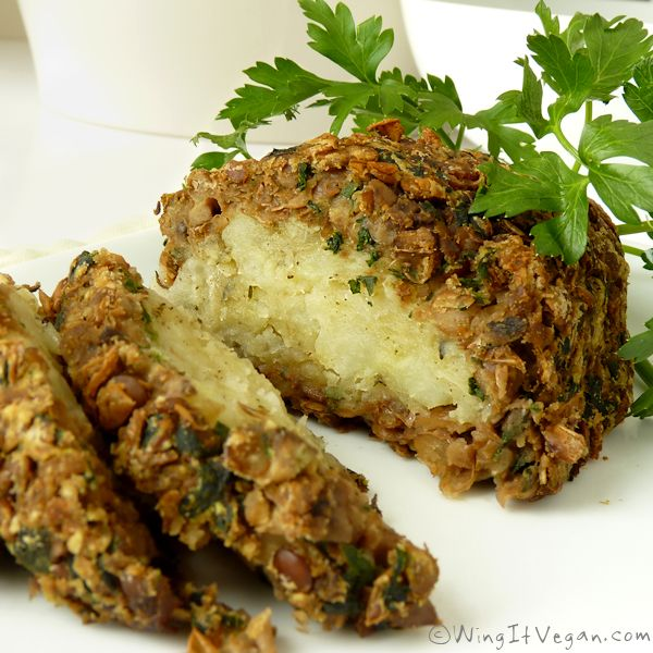 Vegan Roast Dinner Lentil and Mushroom Loaf with Savory Potato Filling-Can't wait to try this.