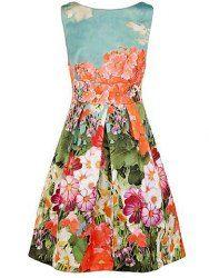 Vintage Round Collar Floral Print Backless Sleeveless Women's Dress