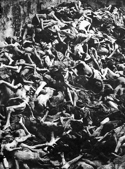 A corpse-pit at Nordhausen. Look hard at the condition of the corpses. These men, women and children were not taken from their homes and sent straight to death. They were worked, abused, and starved for days or weeks or months before death overtook them.
