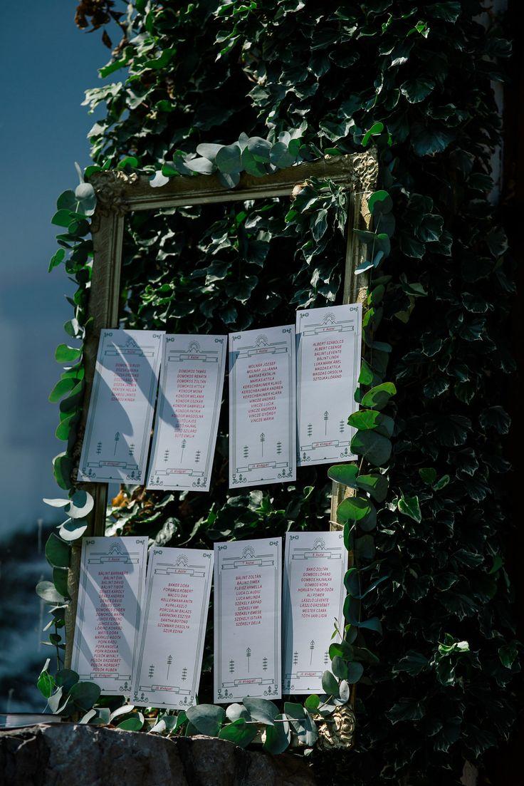 Seating chart #greenery #wedding