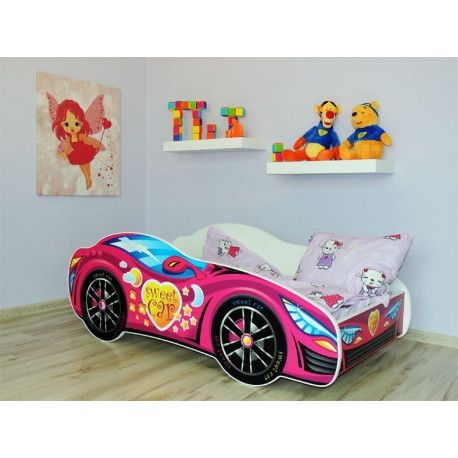 'Sweet car' - a cute pink racing car bed for a toddler with a big heart. - The Little Bedroom Company