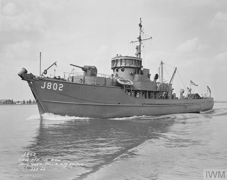 HMS BYMS 20002(J802), a British Yard Minesweeper built by American Car and Foundry Co. atWilmington, Delaware, U.S.A. as part of Lend-Lease & commissioned on 22/06/42. Returned to USN on 01/09/47