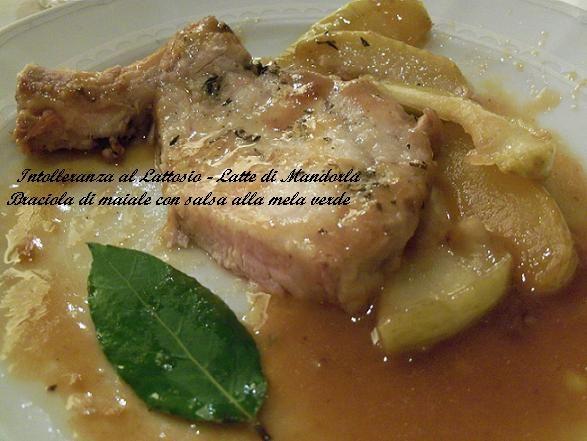 Braciola di maiale con salsa alla mela verde- Ricetta secondo piatto, carne di maiale, senza lattosio