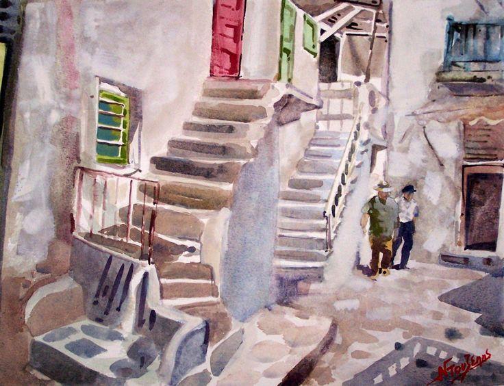 Mykonos alley 30x40cm watercolor by Babis Douzepis
