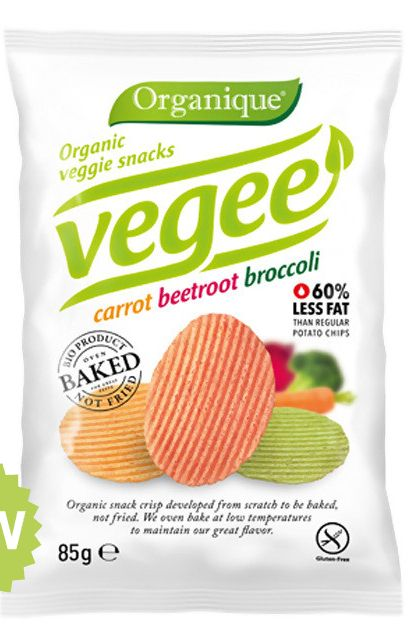 Organique introduces baked Vegee snacks. #packaging #design