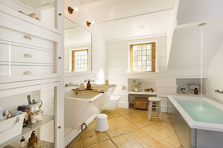 Bidet, Brick, Cottage, European, Inset, Glass Panel, Double, Wall-mounted, Master. Love the water coming from ceiling.