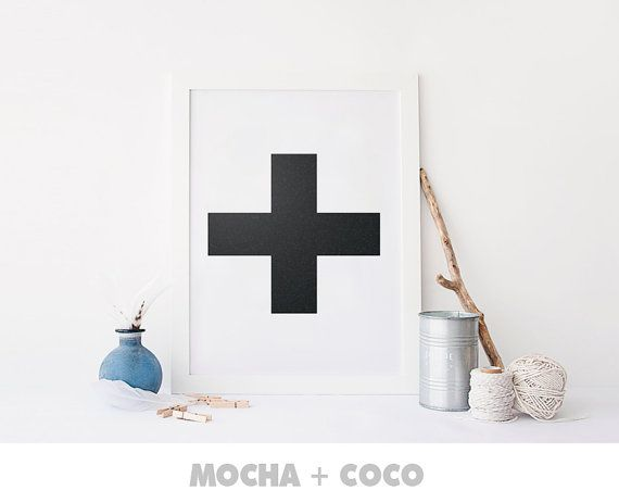 Black Granite Plus Cross X Art Poster | Geometric Wall Art, Startup Minimal Decoration, Printable Mocha + Coco, Intstant PRINT FILE DOWNLOAD